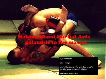 Making Mixed Martial Arts palatable to the masses PC Comments: Good image. Interesting take on the task. Shows you're thinking about problem / solution.