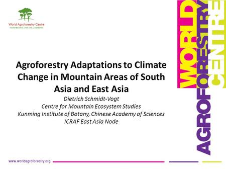 Agroforestry Adaptations to Climate Change in Mountain Areas of South Asia and East Asia Dietrich Schmidt-Vogt Centre for Mountain Ecosystem Studies Kunming.