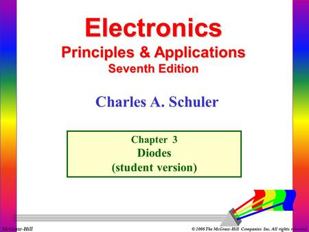 McGraw-Hill © 2008 The McGraw-Hill Companies Inc. All rights reserved. Electronics Principles & Applications Seventh Edition Chapter 3 Diodes (student.