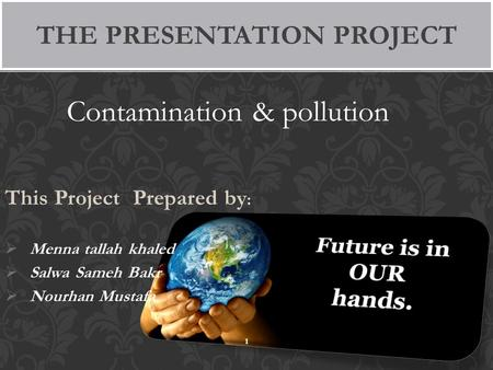 Contamination & pollution This Project Prepared by :  Menna tallah khaled  Salwa Sameh Bakr  Nourhan Mustafa THE PRESENTATION PROJECT 1.