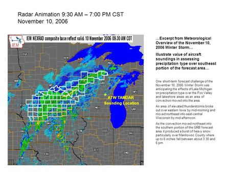 Radar Animation 9:30 AM – 7:00 PM CST November 10, 2006 …Excerpt from Meteorological Overview of the November 10, 2006 Winter Storm… Illustrate value of.