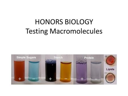 HONORS BIOLOGY Testing Macromolecules. Qualitative Detecting if a substance is present You won't be determining how much.