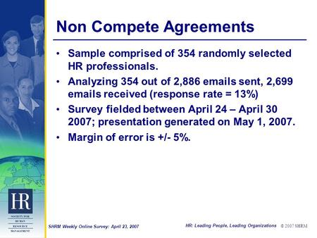 HR: Leading People, Leading Organizations © 2007 SHRM SHRM Weekly Online Survey: April 23, 2007 Non Compete Agreements Sample comprised of 354 randomly.