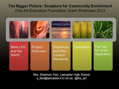 Meet LHS and the NAHS Project Overview Objectives and Ohio Content Standards Evaluation Fish Tips for Grant Application.... 1 The Bigger Picture: Sculpture.