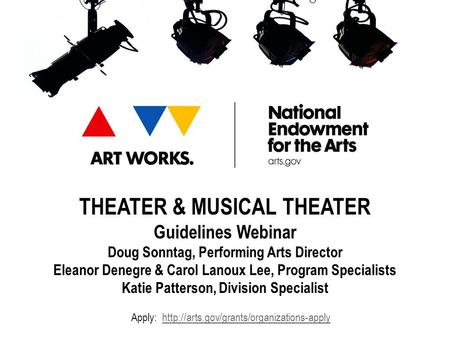 THEATER & MUSICAL THEATER Guidelines Webinar Doug Sonntag, Performing Arts Director Eleanor Denegre & Carol Lanoux Lee, Program Specialists Katie Patterson,