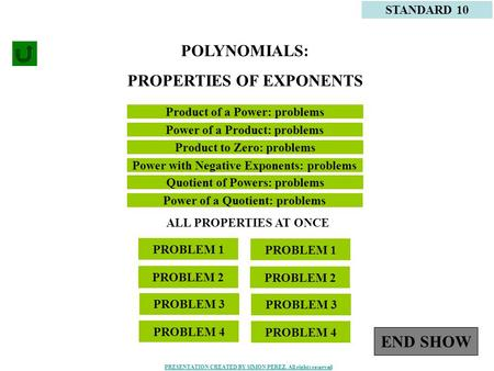 1 Product of a Power: problems STANDARD 10 Power of a Product: problems POLYNOMIALS: PROPERTIES OF EXPONENTS PROBLEM 1 PROBLEM 2 PROBLEM 3 PROBLEM 4 PROBLEM.