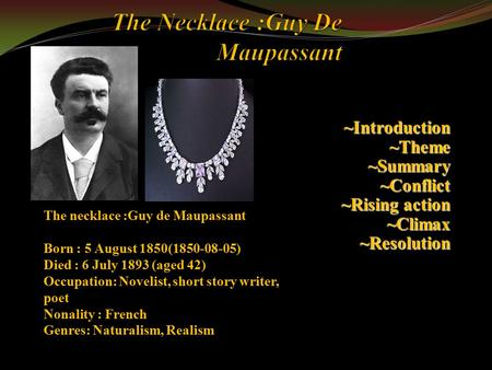 The element of surprise in the story the necklace by guy de maupassant