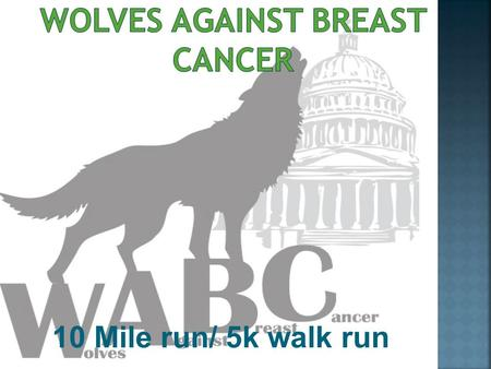 10 Mile run/ 5k walk run.  Mission of Wolves Against Breast Cancer:  Educate students about the TRUTHS of breast cancer, advocacy, and evidence- based.