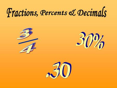 Fractions, Percents & Decimals