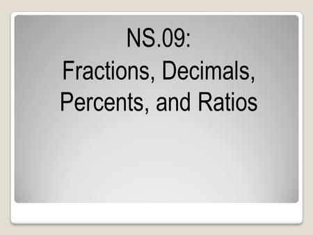 NS.09: Fractions, Decimals, Percents, and Ratios