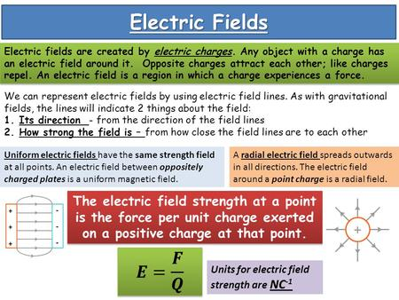 Electric Fields Electric fields are created by electric charges. Any object with a charge has an electric field around it. Opposite charges attract each.