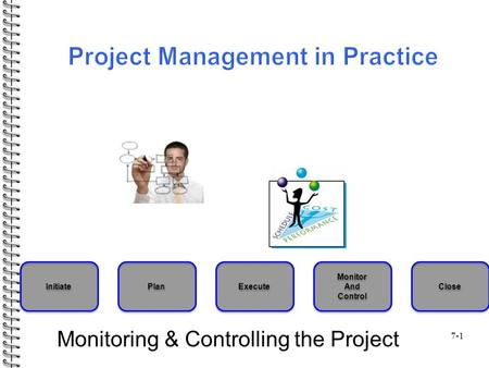 7-1 Monitoring & Controlling the Project Initiate Plan Execute Monitor And Control Monitor And Control Close.