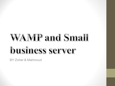 BY Zoher & Mahmoud. What is WAMP?  - Acronym for Windows/Apache/MySQL/PHP, Python, (and/or) PERL  - WAMP refers to a set of free open source applications,