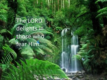 The LORD delights in those who fear Him…. Yours for the Taking: Peace, Purpose, Power and Privilege John 20:19-23.