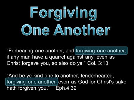 Forbearing one another, and forgiving one another, if any man have a quarrel against any: even as Christ forgave you, so also do ye. Col. 3:13 And be.