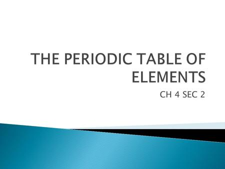 CH 4 SEC 2.  STUDENTS KNOW HOW TO IDENTIFY ELEMENTS ON THE PERIODIC TABLE.  STUDENTS KNOW HOW TO LOCATE CORRESPONDING REGIONS OF THE METALS, NONMETALS,