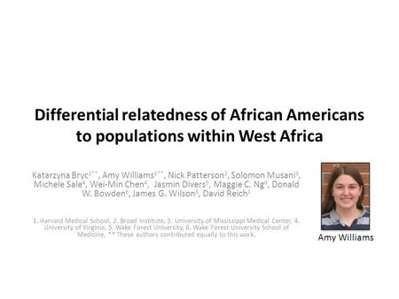 Differential relatedness of African Americans to populations within West Africa Katarzyna Bryc 1**, Amy Williams 1**, Nick Patterson 2, Solomon Musani.