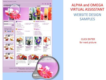 CLICK ENTER for next picture ALPHA and OMEGA VIRTUAL ASSISSTANT WEBSITE DESIGN SAMPLES.