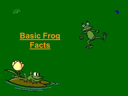 Basic Frog Facts. Adaptations Frogs are part of the amphibian order, Anura. Frogs have four legs, no neck, and no tails as adults. Frogs have loose, mucous.