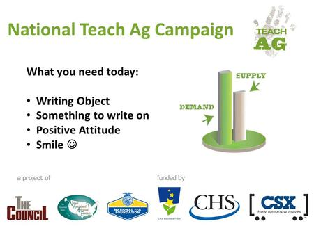 National Teach Ag Campaign What you need today: Writing Object Something to write on Positive Attitude Smile.
