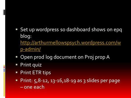  Set up wordpress so dashboard shows on epq blog:  p-admin/  p-admin/