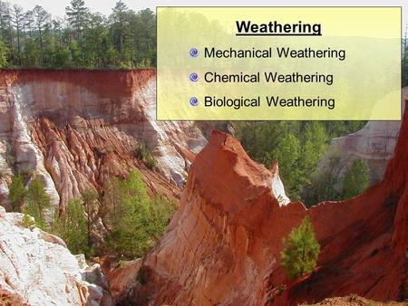 Weathering Mechanical Weathering Chemical Weathering Biological Weathering.