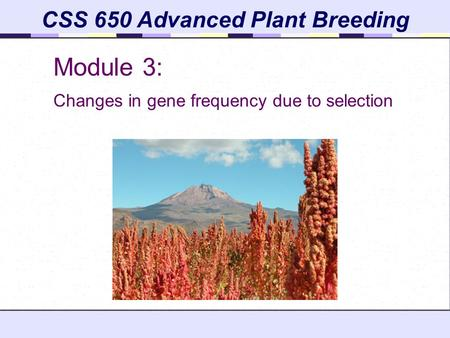 CSS 650 Advanced Plant Breeding Module 3: Changes in gene frequency due to selection.
