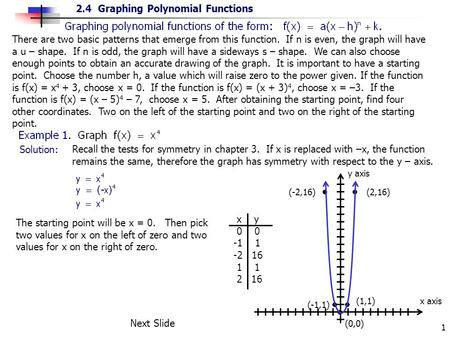 2.4 Graphing Polynomial Functions 1 x y 0 0 -1 1 -2 16 1 1 2 16 There are two basic patterns that emerge from this function. If n is even, the graph will.