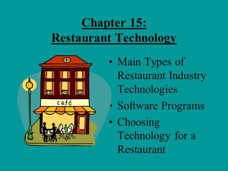 Chapter 15: Restaurant Technology