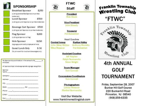 FTWC Staff SPONSORSHIP Breakfast Sponsor $250 (Listing as Breakfast Sponsor on printed materials) Lunch Sponsor $500 (Listing as Lunch Sponsor on printed.