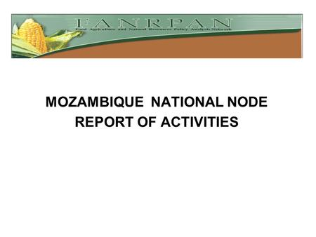 MOZAMBIQUE NATIONAL NODE REPORT OF ACTIVITIES. MOZAMBIQUE NATIONAL NODE REPORT OF ACTIVITIES  Workshops attended Methodology workshops for Relief Seed.