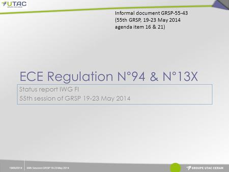 ECE Regulation N°94 & N°13X 19/05/201455th Session GRSP 19-23 May 2014 Status report IWG FI 55th session of GRSP 19-23 May 2014 Informal document GRSP-55-43.