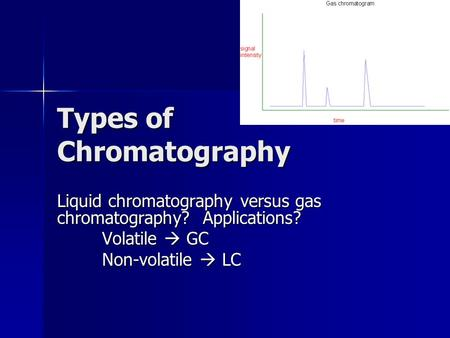 Types of Chromatography Liquid chromatography versus gas chromatography? Applications? Volatile  GC Non-volatile  LC.