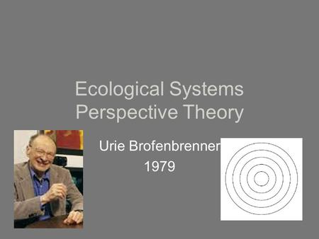 Ecological Systems Perspective Theory Urie Brofenbrenner 1979.