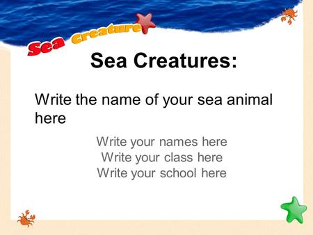 Sea Creatures: Write your names here Write your class here Write your school here Write the name of your sea animal here.