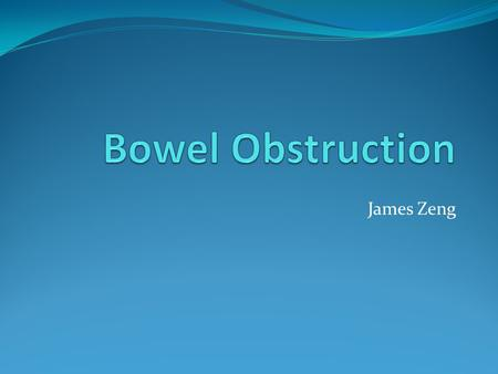 James Zeng. Bowel Obstruction A blockage of bowel lumen prohibiting the passage of materials[1] 8% of abdo pain in ED (3 rd leading cause)[2] 24% require.