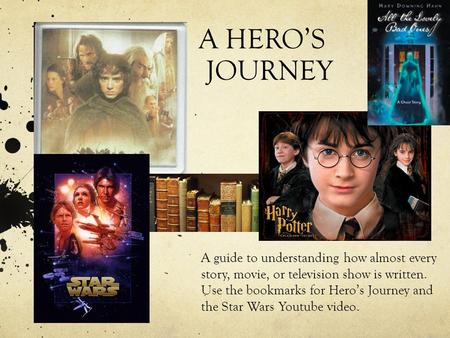 A HERO'S JOURNEY A guide to understanding how almost every story, movie, or television show is written. Use the bookmarks for Hero's Journey and the Star.