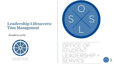 Leadership Lifesavers: Time Management Brought to you by: Title Slide 1.