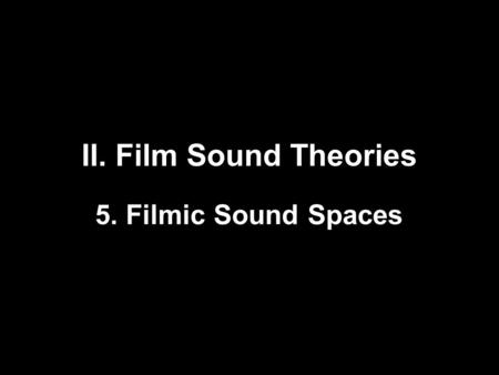 II. Film Sound Theories 5. Filmic Sound Spaces. Sound Theory Sound Practice Edited by Rick Altman (1992) With essays by James Lastra, Michel Chion, and.