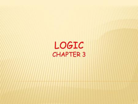 LOGIC CHAPTER 3 1. EULER DIAGRAMS: A PROBLEM-SOLVING TOOL 3.5 2.