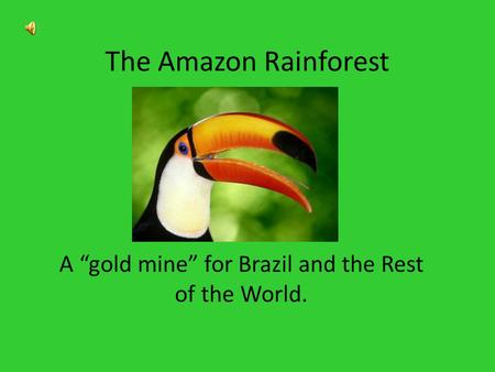 "The Amazon Rainforest A ""gold mine"" for Brazil and the Rest of the World."