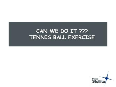 CAN WE DO IT ??? TENNIS BALL EXERCISE. Tennis Ball Exercise  Play 4 Rounds  3 or 4 equal groups (a good size is 7 to 10 people)  Each group will use.