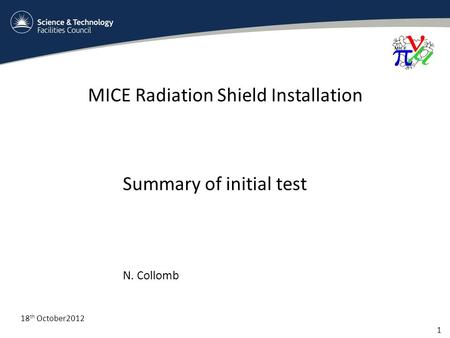 MICE Radiation Shield Installation 1 18 th October2012 Summary of initial test N. Collomb.