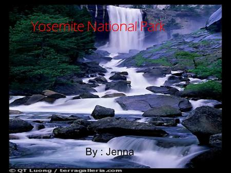 Yosemite National Park By : Jenna. Interesting Facts Yosemite was the first wilderness park in the United States! At Yosemite there's about 4 million.