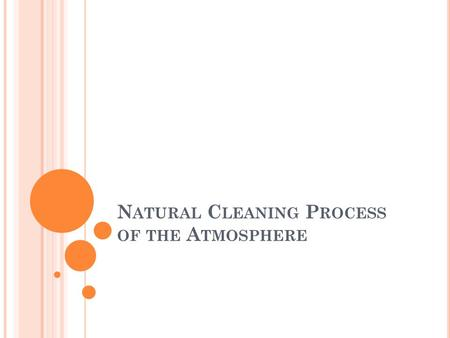 N ATURAL C LEANING P ROCESS OF THE A TMOSPHERE. O BJECTIVES What are the methods involved in the cleansing of the atmosphere? Learn about deposition velocity.
