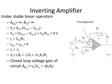 Inverting Amplifier Under stable linear operation – A OL = ∞, R in = ∞ – V o = A OL (V in(+) – V in(-) ) – V id = (V in(+) – V in(-) ) = V o /A OL = 0.