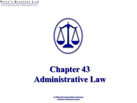 Chapter 43 Administrative Law. Introduction Administrative Law is the rules, orders, and decisions of federal, state, and local government agencies established.