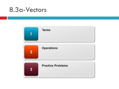 8.3a-Vectors 33 22 11 Terms Operations Practice Problems.