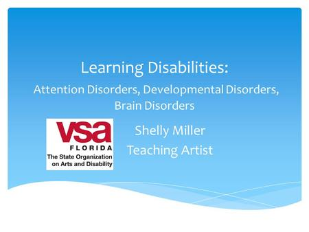 Learning Disabilities: Attention Disorders, Developmental Disorders, Brain Disorders Shelly Miller Teaching Artist.