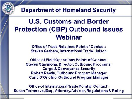 U.S. Customs and Border Protection (CBP) Outbound Issues Webinar